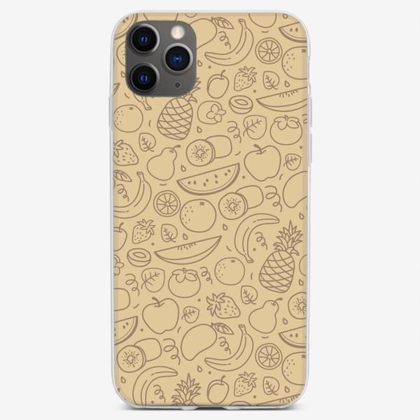 Чехол iPhone «Бежевый паттерн «фрукты»»