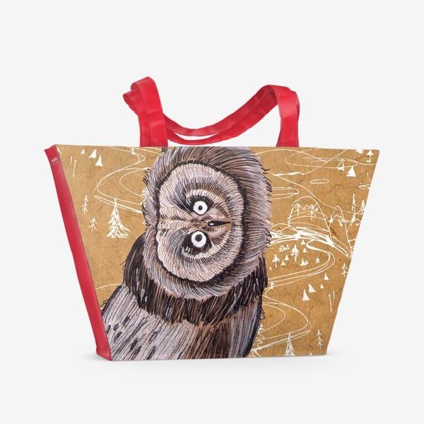 Пляжная сумка «Удивленная сова»