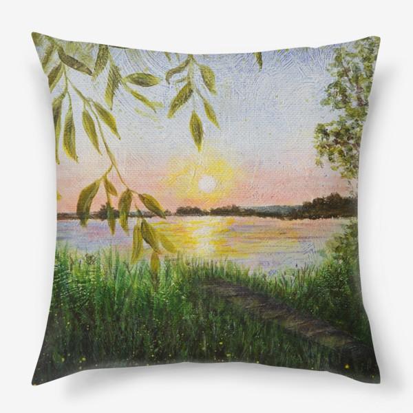 Подушка «Закат у воды»