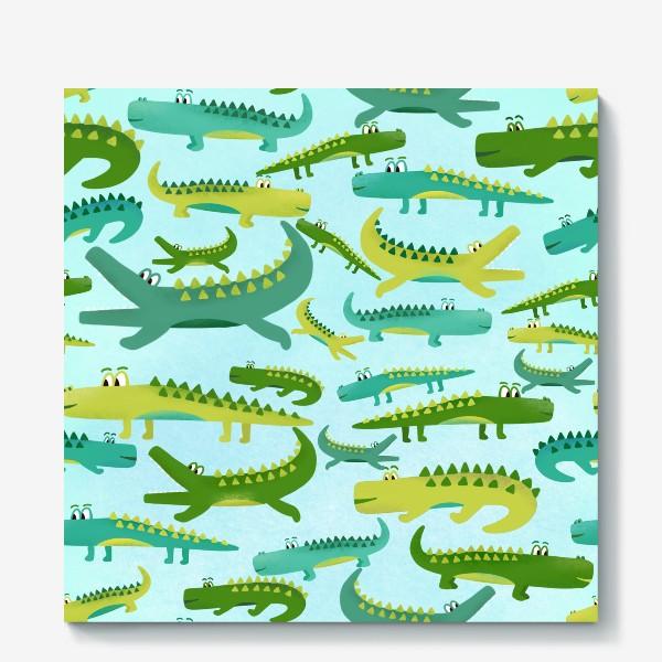 Холст «Крокодил крокодильчик паттерн детский»