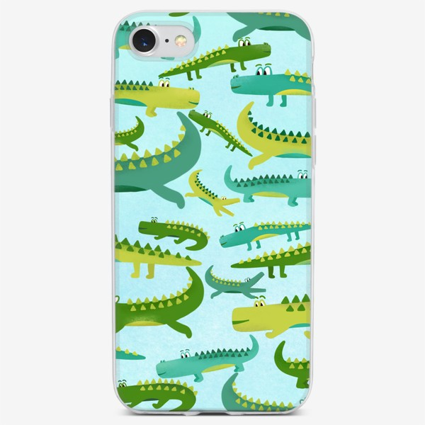 Чехол iPhone «Крокодил крокодильчик паттерн детский»