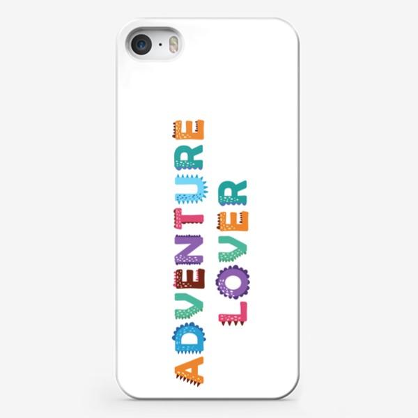 Чехол iPhone «Яркая надпись Любитель приключений»
