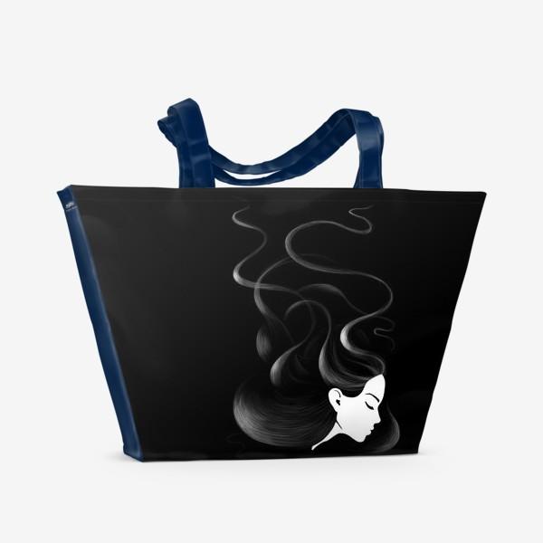 Пляжная сумка «Черные волосы»
