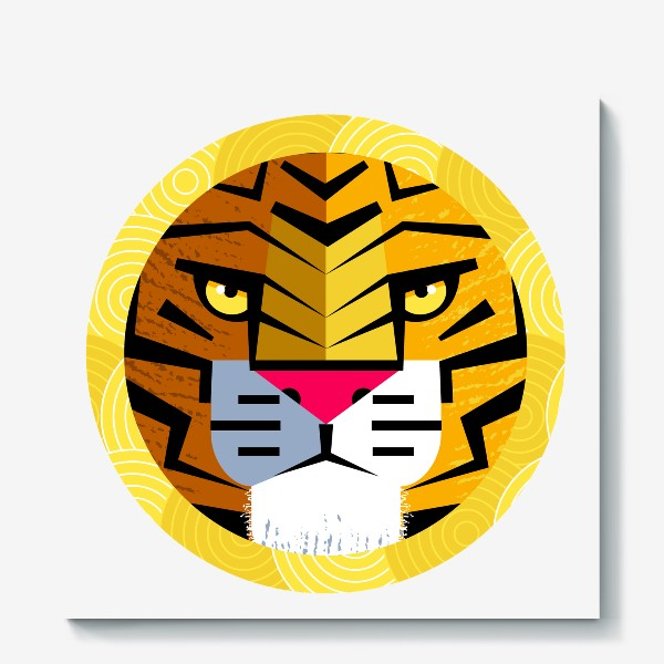 Холст «Тигр в круглой рамке»