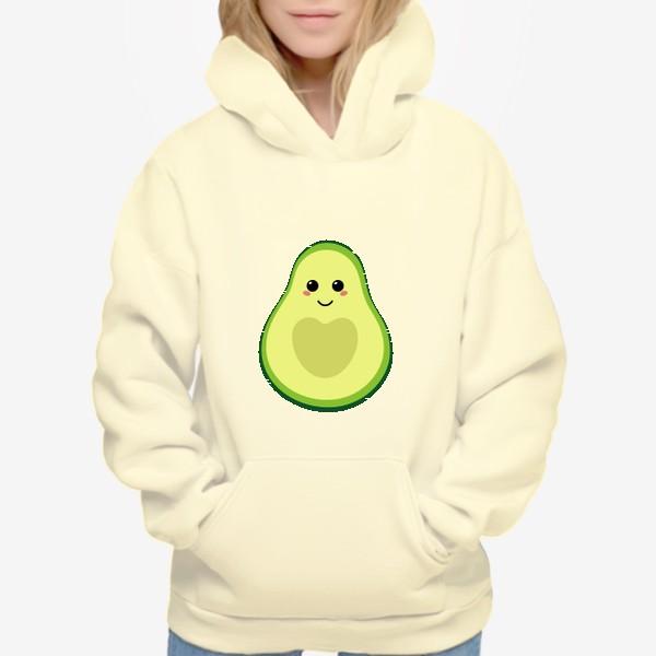 Худи «милый авокадо, смайлик, эмодзи, сердечко и улыбка»