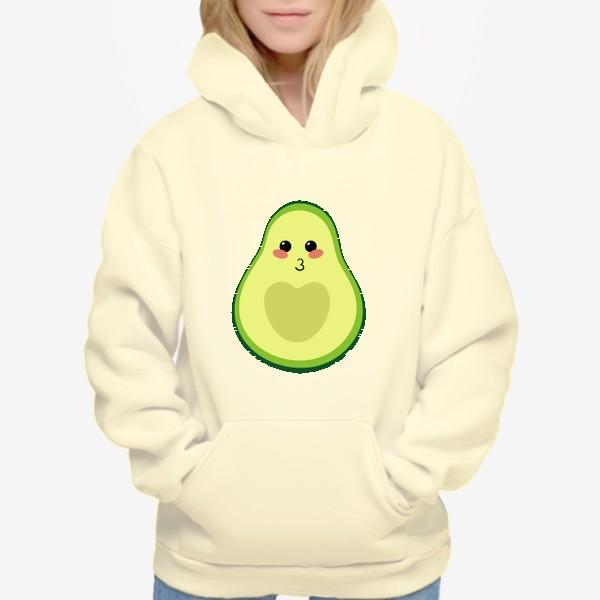 Худи «милый авокадо, смайлик, эмодзи, сердечко и поцелуй»