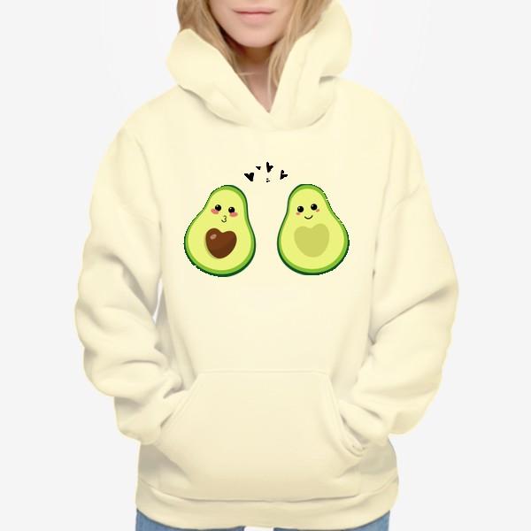 Худи «Милая пара, авокадо эмодзи (смайлики) и сердечки, поцелуй и улыбка»
