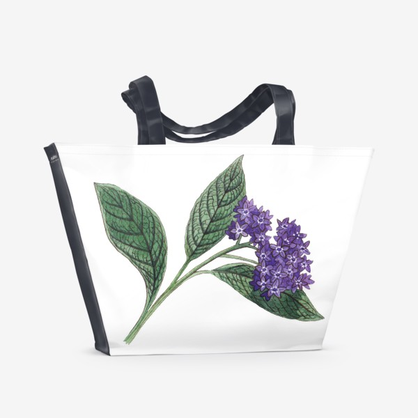 Пляжная сумка «Ботаника. Веточка гелиотропа»