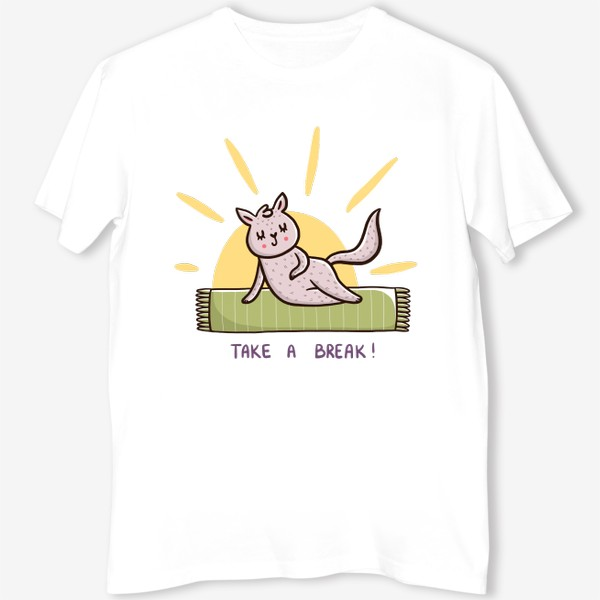 Футболка «Милая кошка на пляже. Лето. Отпуск. Take a break!»
