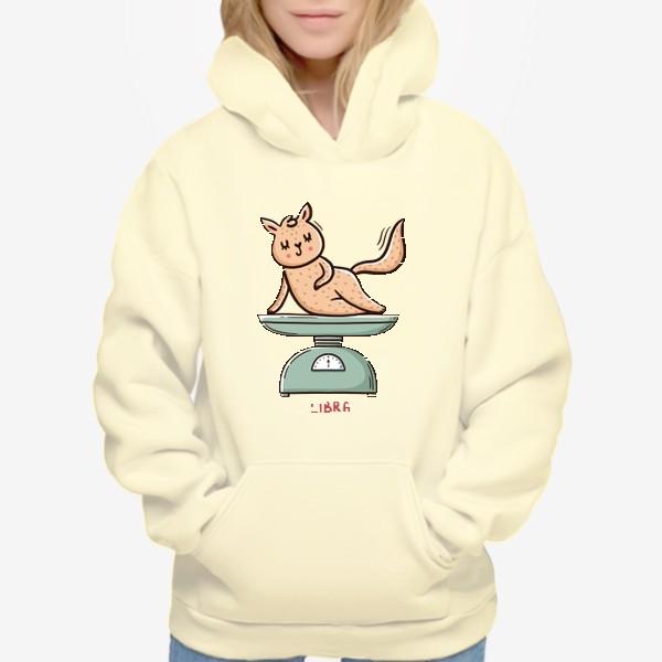 Худи «Милая кошка на весах. Подарок Весам. Весы. Libra»