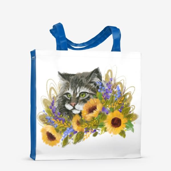 Сумка-шоппер «Кот и подсолнухи»