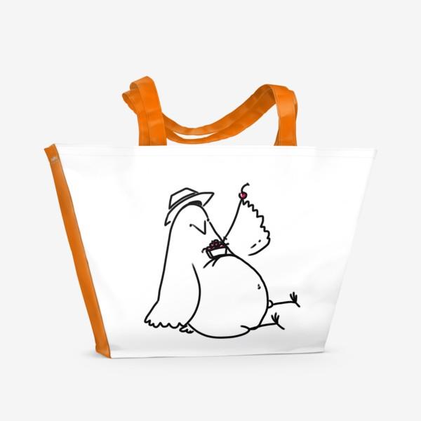 Пляжная сумка «Птица с вишнями. Есть летнее настроение»