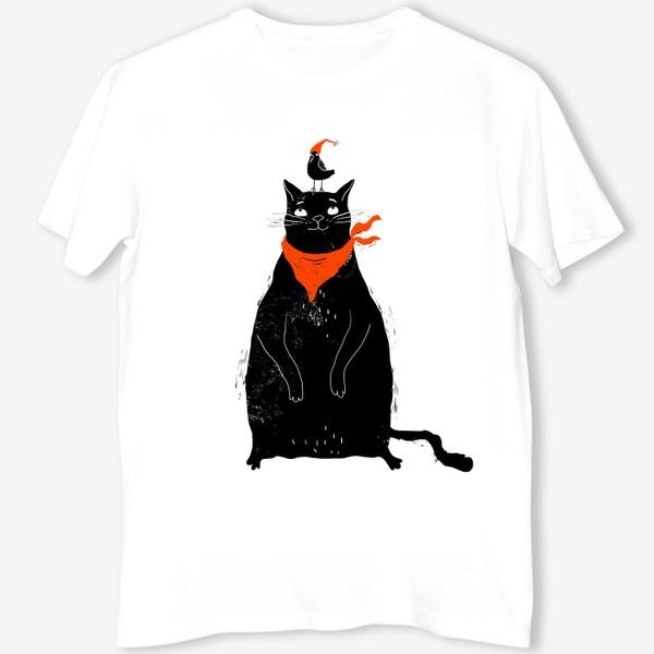 Футболка «Черный кот и птичка в красном колпаке»