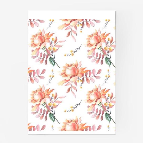 Постер «Чайная роза с веточками»