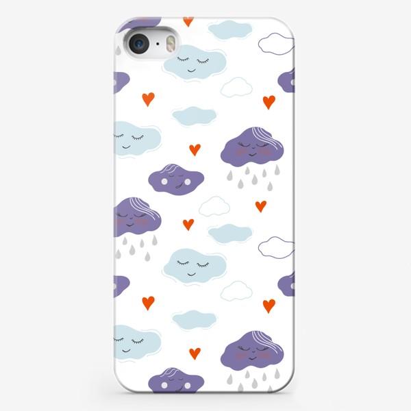 Чехол iPhone «Анималистичные облака, тучи, дождь и сердечки»