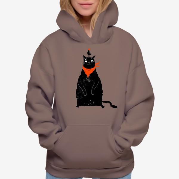 Худи «Черный кот и птичка в красном колпаке»