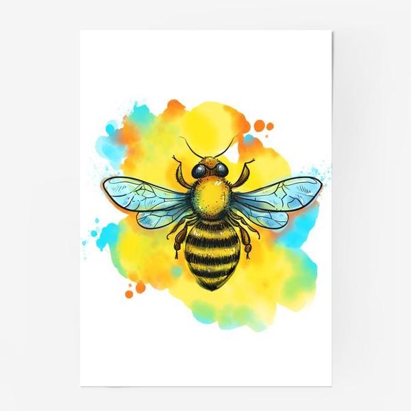 Постер «пчела. акварельная пчелка»