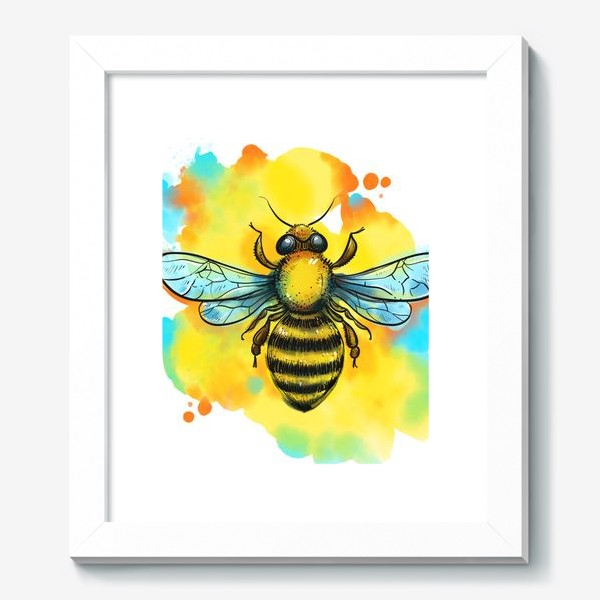 Картина «пчела. акварельная пчелка»