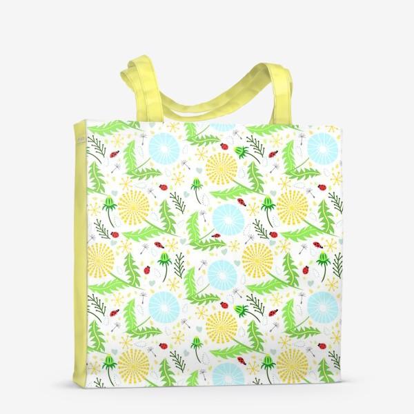 Сумка-шоппер «Цветочный узор из одуванчиков с божьими коровками»