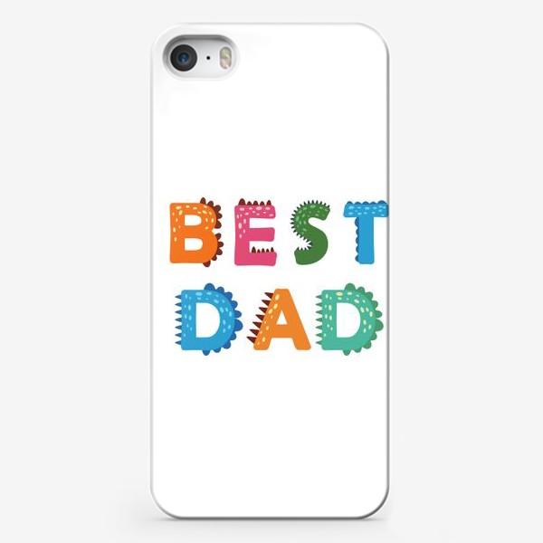 Чехол iPhone «Лучший папа. Яркая надпись в стиле динозавров»