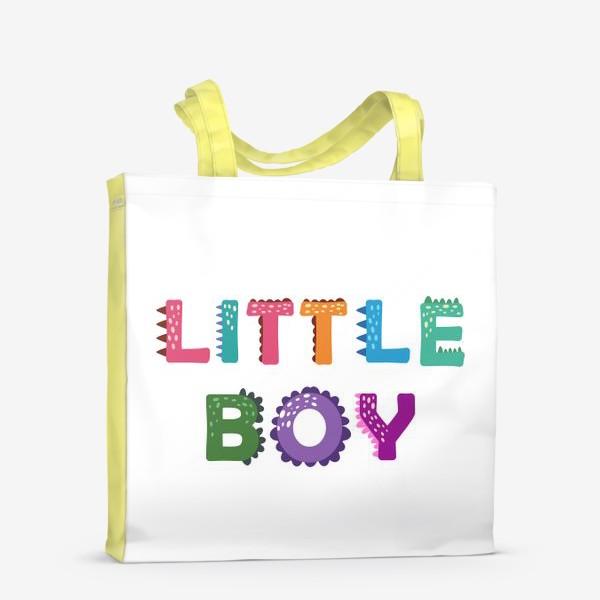 Сумка-шоппер «Маленький мальчик. Яркая детская надпись»