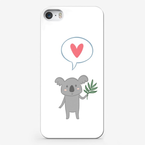 Чехол iPhone «Коала с листом эвкалипта и сердечком»