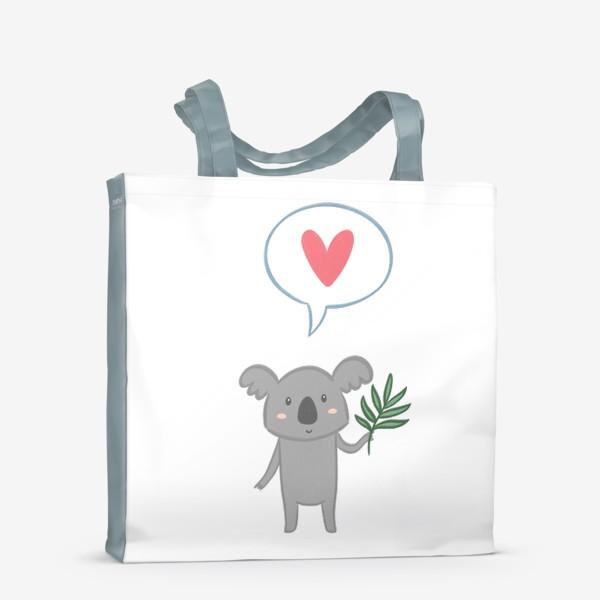 Сумка-шоппер «Коала с листом эвкалипта и сердечком»
