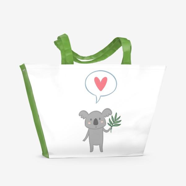 Пляжная сумка «Коала с листом эвкалипта и сердечком»