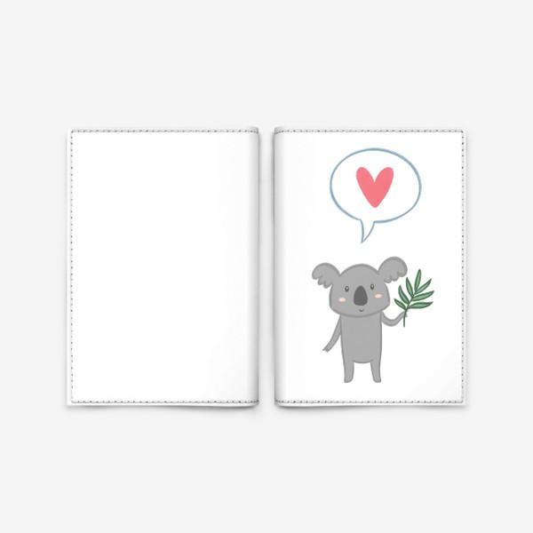 Обложка для паспорта «Коала с листом эвкалипта и сердечком»