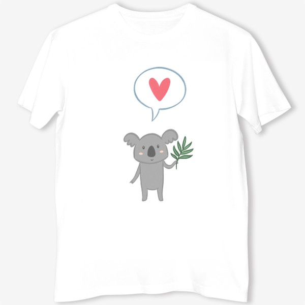 Футболка «Коала с листом эвкалипта и сердечком»