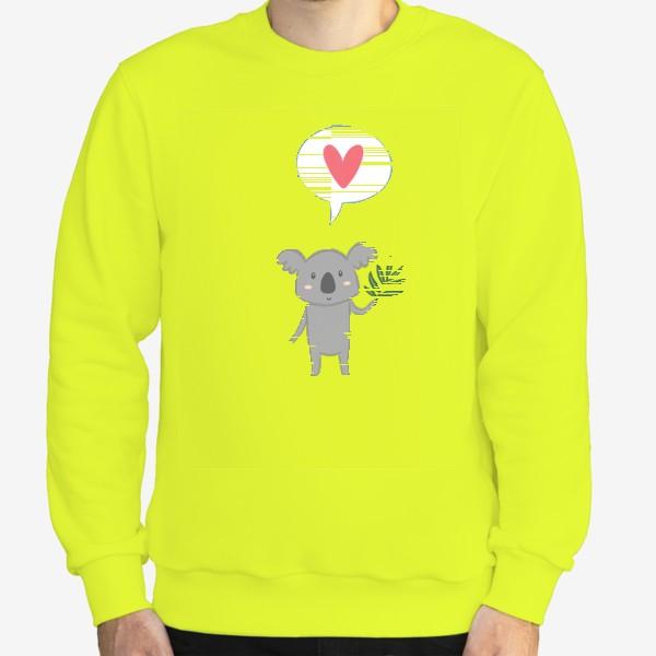 Свитшот «Коала с листом эвкалипта и сердечком»