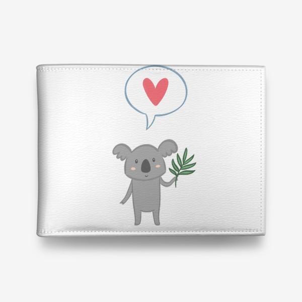Кошелек «Коала с листом эвкалипта и сердечком»