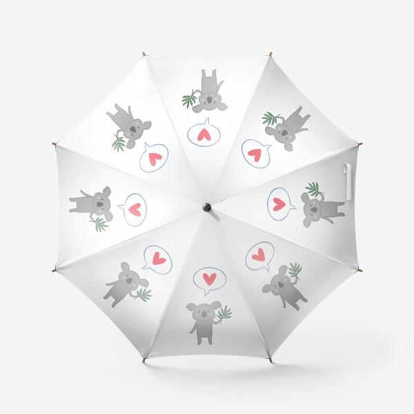 Зонт «Коала с листом эвкалипта и сердечком»