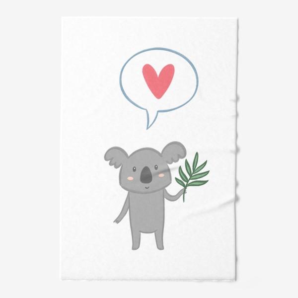 Полотенце «Коала с листом эвкалипта и сердечком»