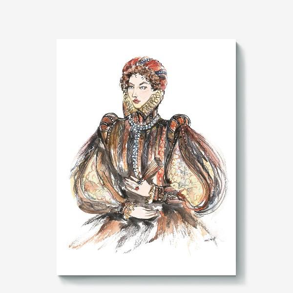 Холст «Красивая девушка в историческом костюме»