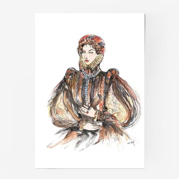Постер «Красивая девушка в историческом костюме»