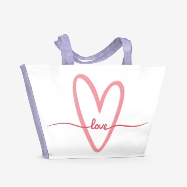 Пляжная сумка «Любовь. Love. Сердце»