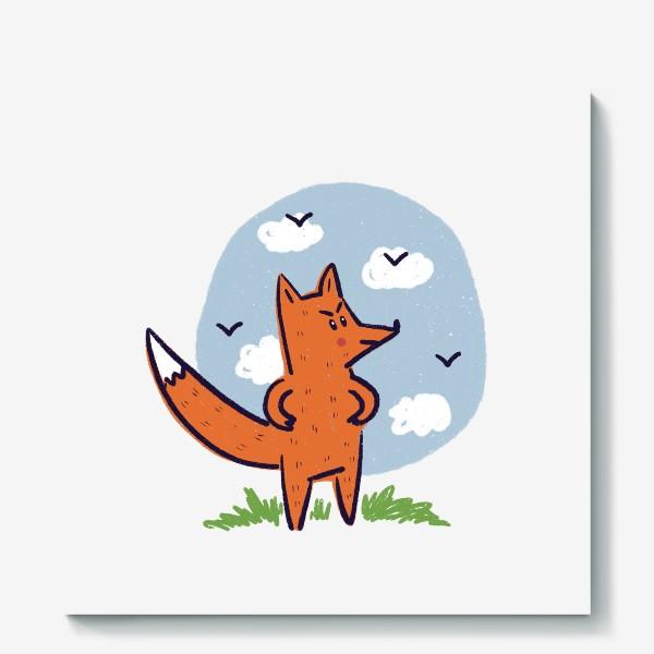 Холст «Недовольный рыжий лис»