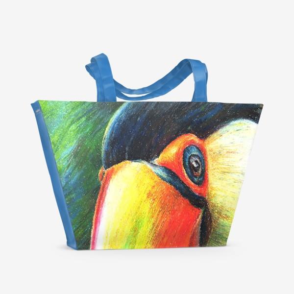Пляжная сумка «Привет! Птица. Тукан.Тропики»