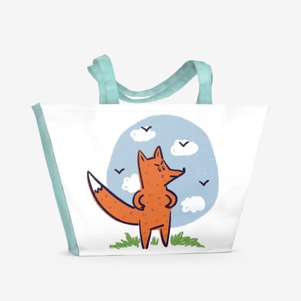 Пляжная сумка «Недовольный рыжий лис»
