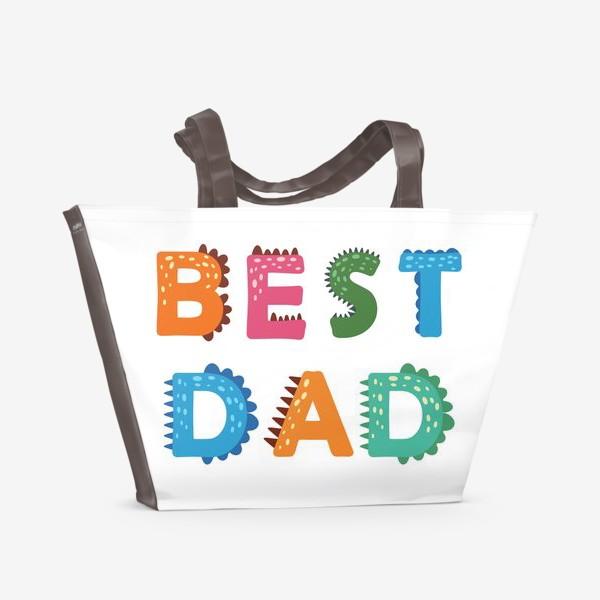 Пляжная сумка «Лучший папа. Яркая надпись в стиле динозавров»