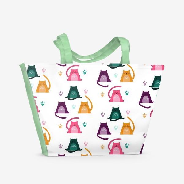 Пляжная сумка «Безшовный узор. Котики»