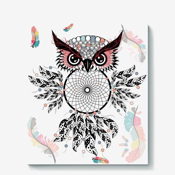 Холст «Сова ловец снов с черно-белыми перьями»
