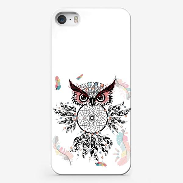 Чехол iPhone «Сова ловец снов с черно-белыми перьями»