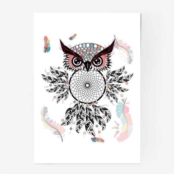 Постер «Сова ловец снов с черно-белыми перьями»