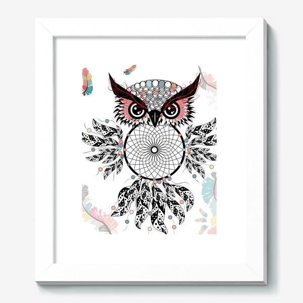 Картина «Сова ловец снов с черно-белыми перьями»