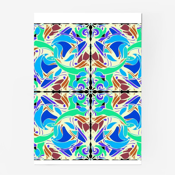 Постер «Абстрактный голубой узор в восточном стиле, паттерн в стиле модерн, мандала, орнамент»