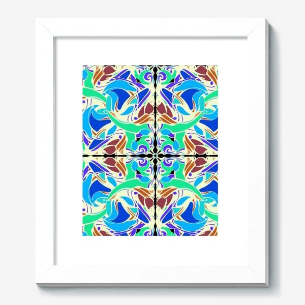 Картина «Абстрактный голубой узор в восточном стиле, паттерн в стиле модерн, мандала, орнамент»