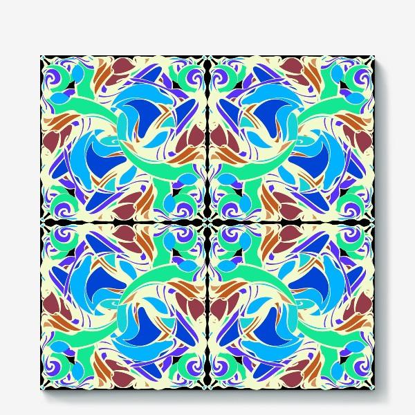 Холст «Абстрактный голубой узор в восточном стиле, паттерн в стиле модерн, мандала, орнамент»