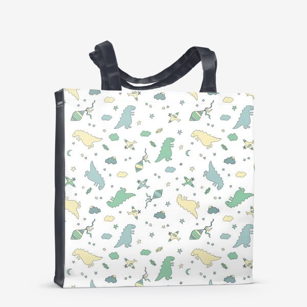 Сумка-шоппер «Милые динозавры бесшовный узор. Детский принт»